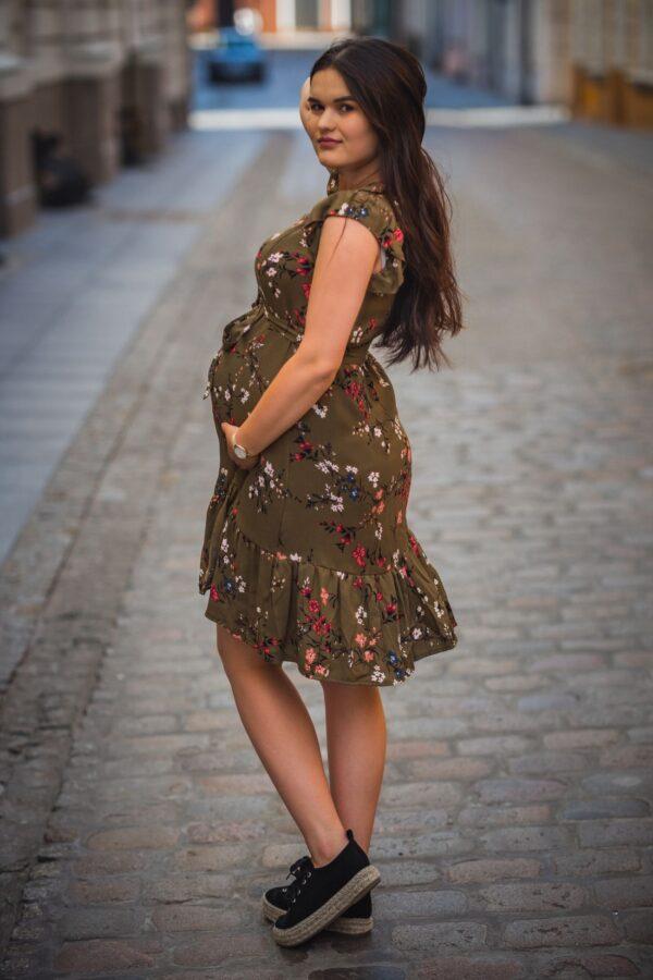 Sukienka do karmienia i ciążowa Lena cynamon