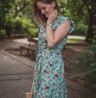 Sukienka do karmienia i ciążowa Lena miętowa