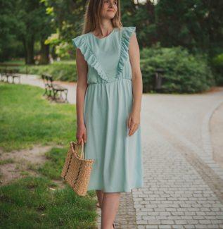 Sukienka do karmienia i ciążowa Ligia miętowa