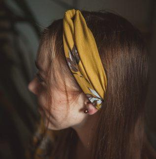 materiałowa opaska na głowę-honey