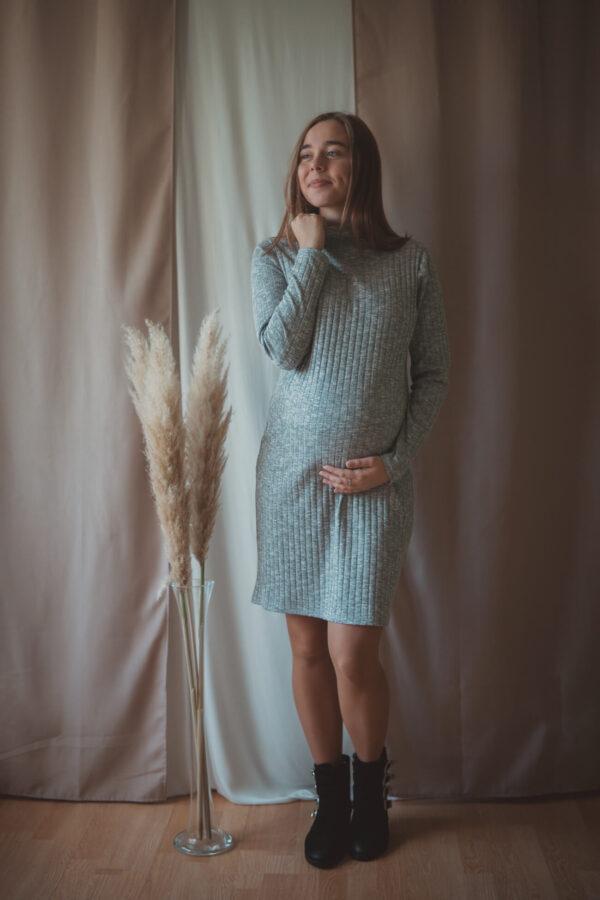 Ceylon popiel-swetrowa sukienka ciążowa i do karmienia