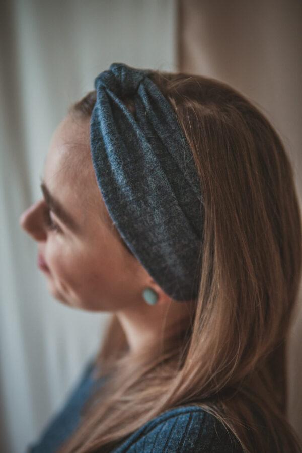 Materiałowa opaska na głowę-navy blue