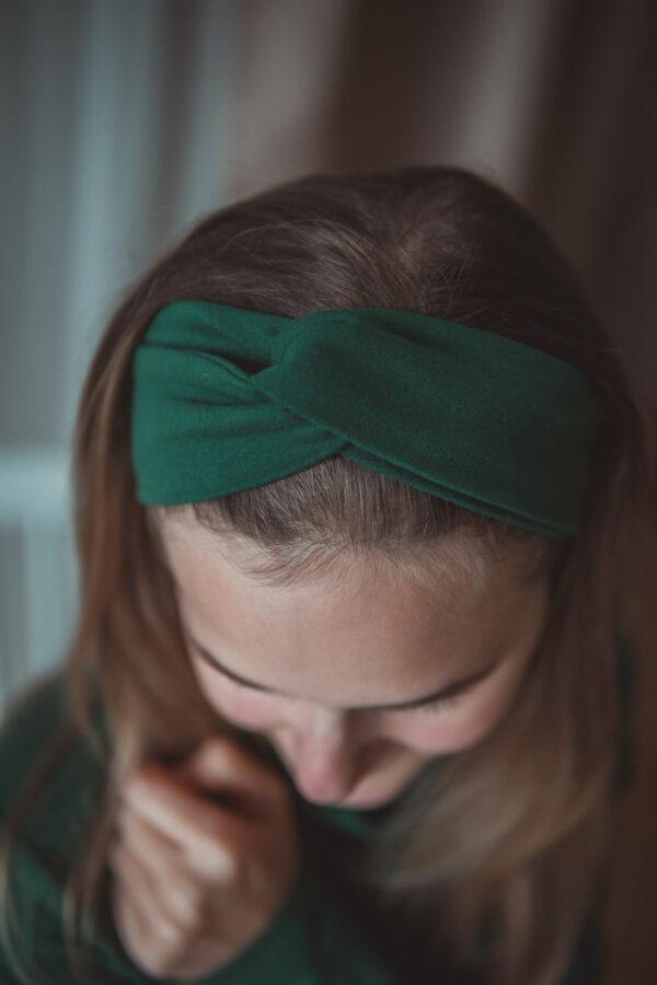 Materiałowa opaska na głowę-malachit