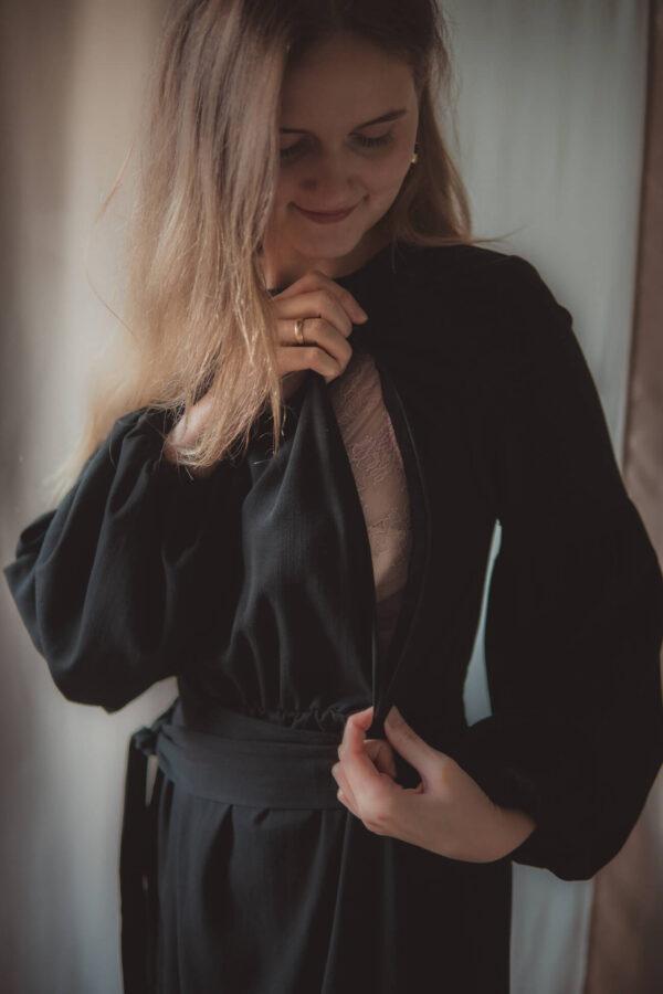 Sukienka ciążowa i do karmienia Jaśmina-blackSukienka ciążowa i do karmienia Jaśmina-black