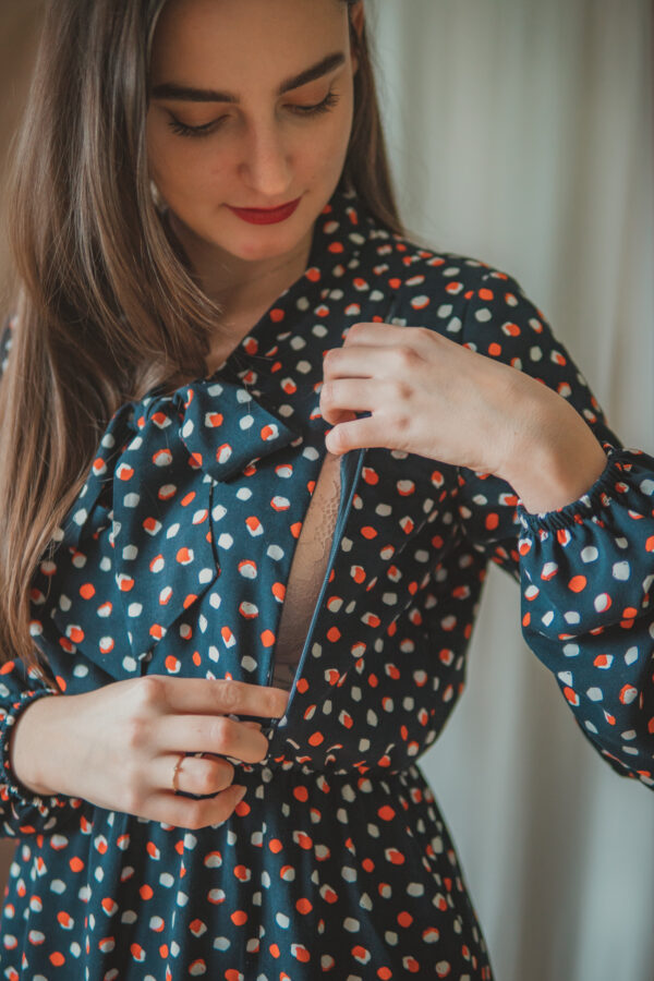 Lidia dots-sukienka do karmienia i na czas ciąży