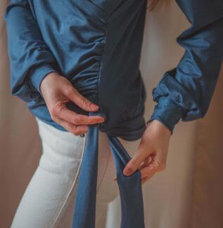 Nila niebieska - bluzka kopertowa