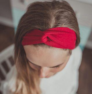 Materiałowa opaska na głowę – bordo – wiskoza