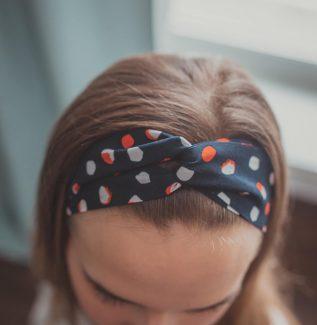 Materiałowa opaska na głowę - dots