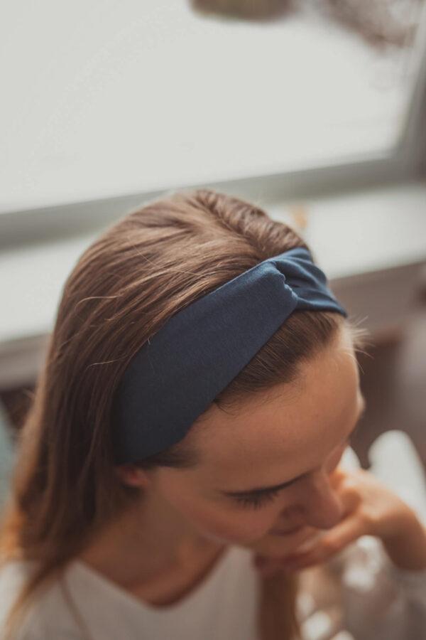 Materiałowa opaska na głowę - niebieska - wiskoza