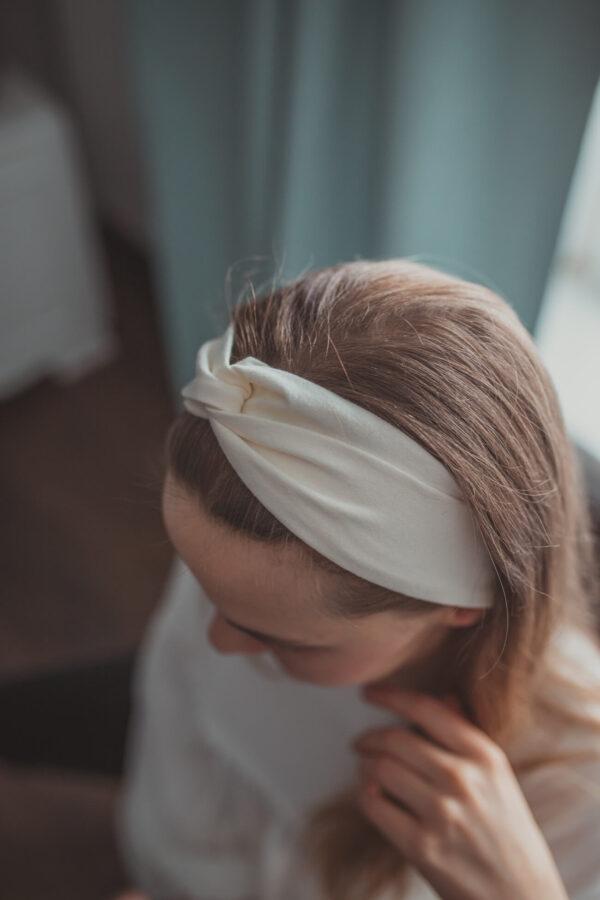 Materiałowa opaska na głowę - ecru