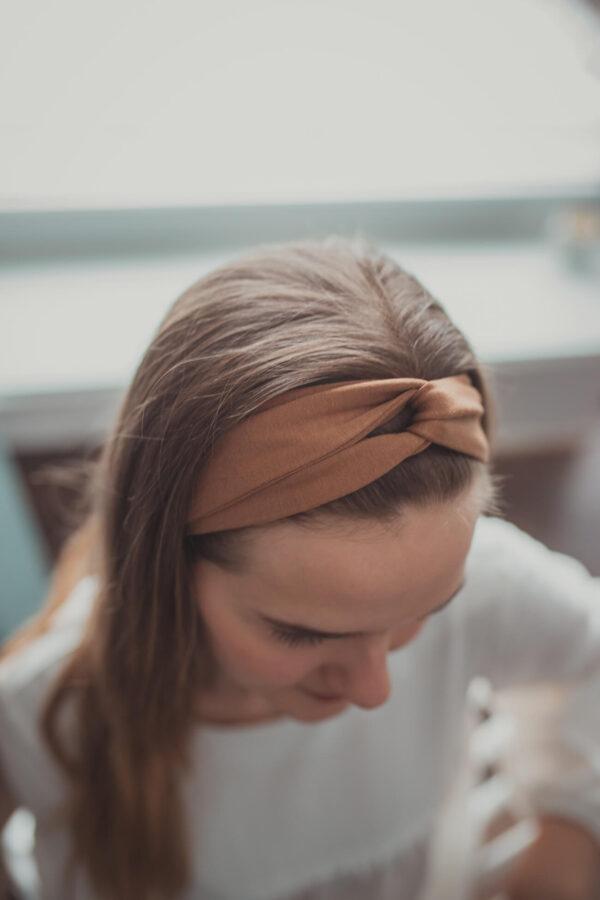 Materiałowa opaska na głowę - cynamon - wiskoza