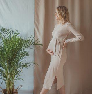 Klara midi - beż - sukienka ciążowa i do karmienia
