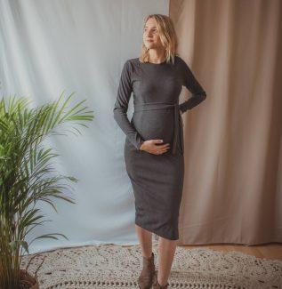 Klara midi - grafit - sukienka ciążowa i do karmienia