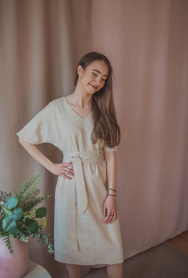 Aya nude - lniana sukienka ciążowa i do karmienia