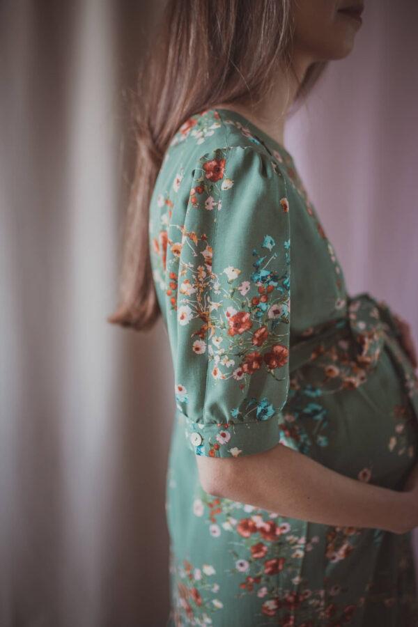 Adele green garden - sukienka ciążowa i do karmienia