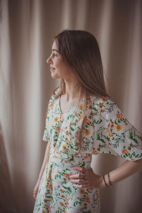 Aya sunflower - lniana sukienka ciążowa i do karmienia