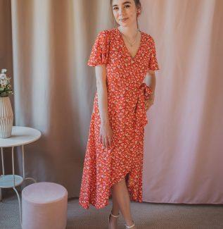 Florence daises - sukienka kopertowa maxi