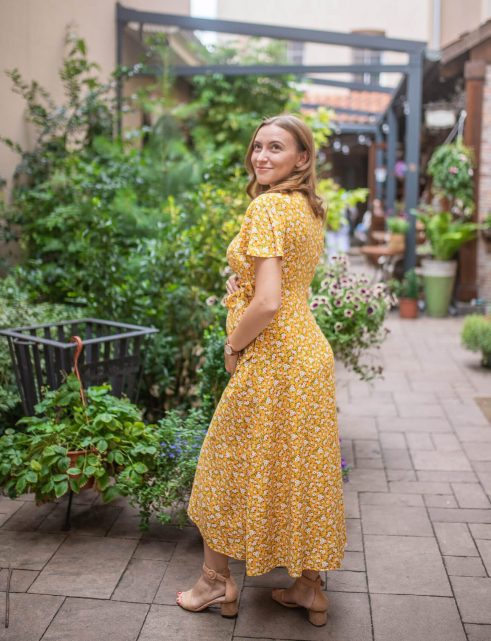 Florence yellow daises - sukienka kopertowa maxi