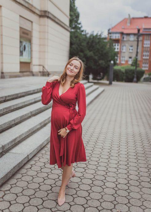 Isabella bordo - sukienka kopertowa